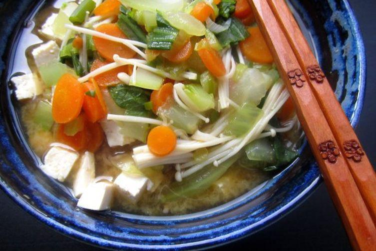 Buckwheat Noodle Soup with chicken broth
