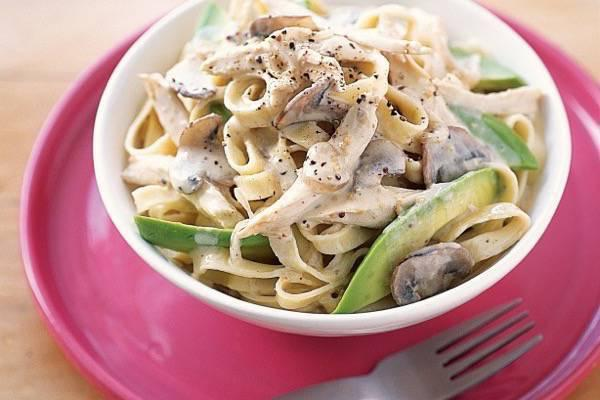 Creamy chicken pasta with mushrooms and parmesan