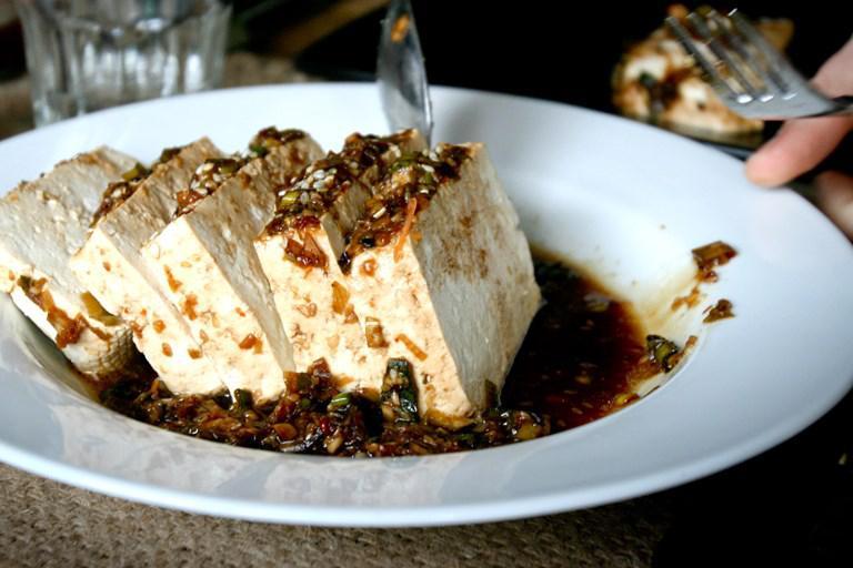 Warm Tofu with Garlic Sauce and Sesame Oil