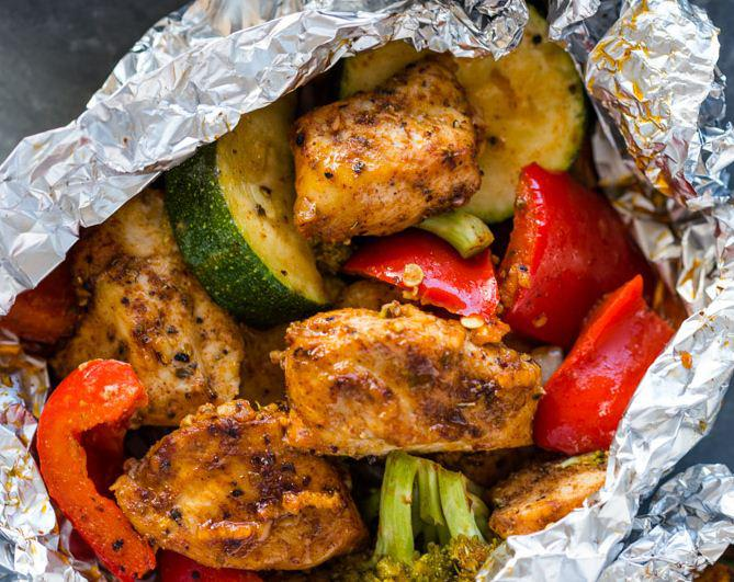 Foil Pack Cajun Chicken and Veggies