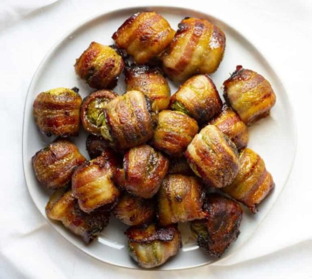 Million dollar appetizer - bacon wrapped Brussel sprouts. Everyone likes them!