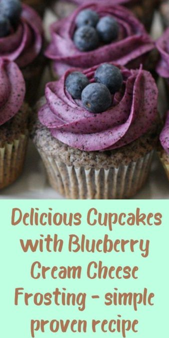 Delicious Cupcakes with Blueberry Cream Cheese Frosting - simple proven recipe