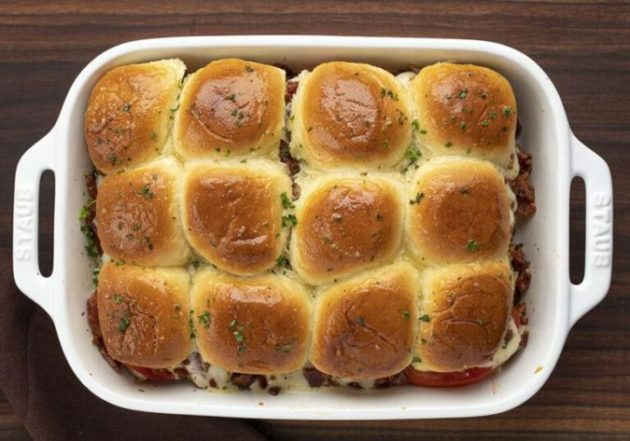Traditionally Open-faced Kentucky Hot Brown Sliders