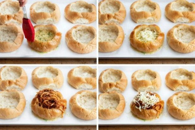 Golden Brown Baked Bread Bowl Spaghetti