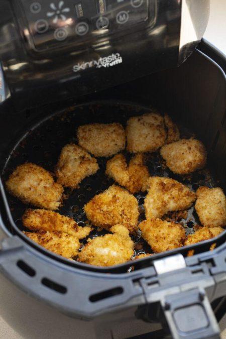 Air Fryer Chicken Nuggets in a buttery lemon garlic sauce