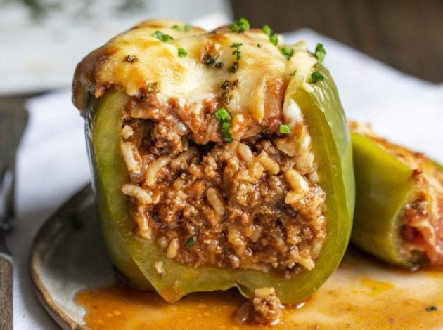Peppers Stuffed with a rice and ground beef mixture