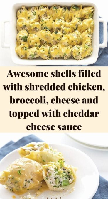 Awesome shells filled with shredded chicken, broccoli, cheese and topped with cheddar cheese sauce