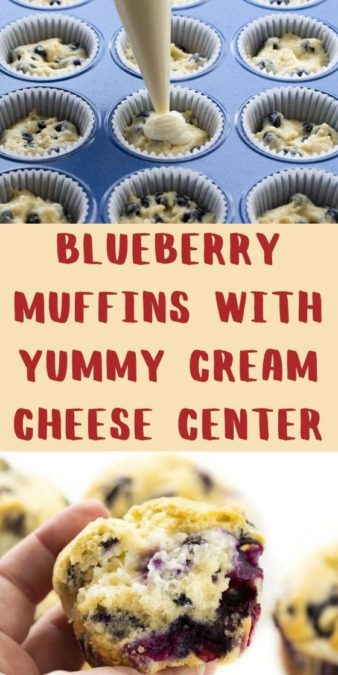 Blueberry Muffins with yummy cream cheese center