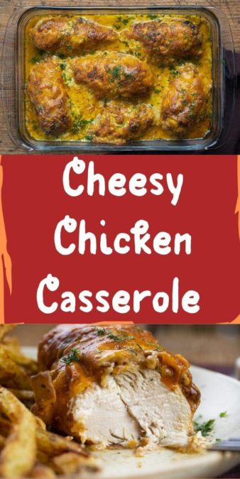 Cheesy Chicken Casserole - savory, filling, and flavorful dish with seasoned chicken, sauteed onions, and lots of cheese