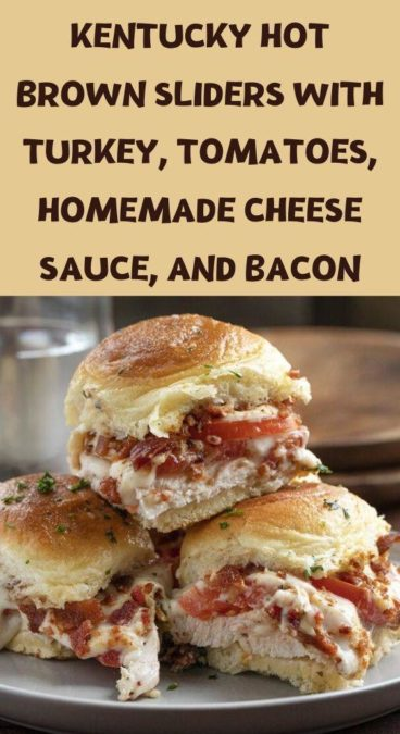 Kentucky Hot Brown Sliders with turkey, tomatoes, homemade cheese sauce, and bacon