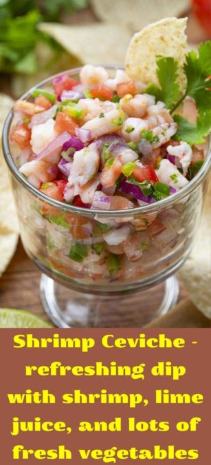 Shrimp Ceviche - refreshing dip with shrimp, lime juice, and lots of fresh vegetables
