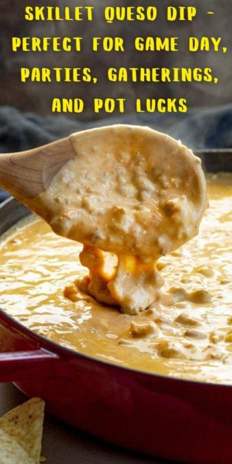 SKILLET QUESO DIP - perfect for game day, parties, gatherings, and pot lucks