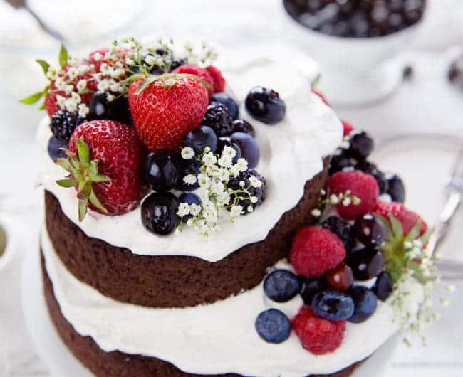 Beautiful One Bowl Chocolate Cake With Fruits